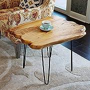 "WELLAND Natural Edge Coffee Table Small, Hairpin Coffee Table, Natural Wood End Table, Wood Slab Table 28"" L x 20"" W x 20.5"" T"