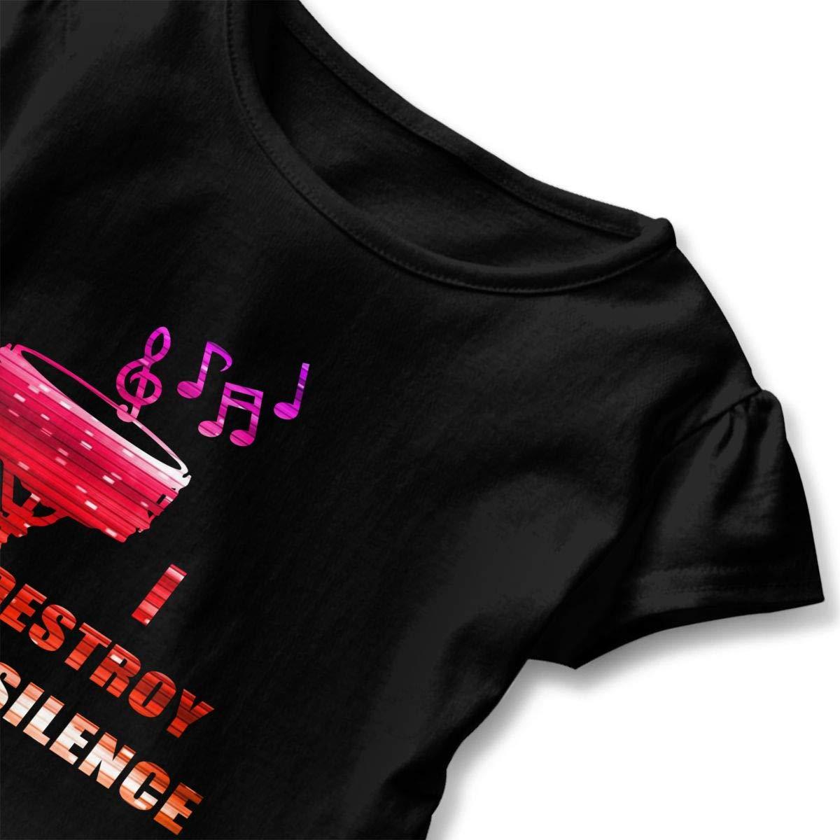 Clarissa Bertha Drummer Music Note Drum Neon Toddler Baby Girls Short Sleeve Ruffle T-Shirt