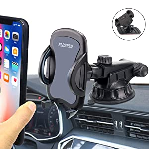 "Car Phone Holder, PLDHPRO 2-in-1 Dashboard/Windshield/Dash/Stick On Car Suction Cup Mount with Telescopic Extension Rod,for iPhone Samsung Sony Google All 4""- 6.4"" Smartphones"
