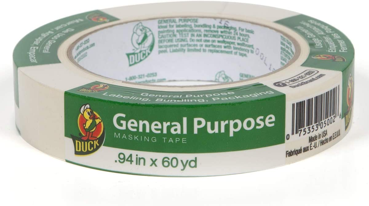 Beige 0.7-Inch by 60-Yard Duck Brand 394689 General Purpose Masking Tape Single Roll