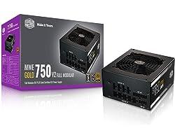 Cooler Master MWE Gold 750 V2 Full Modular, 750W, 80+ Gold Efficiency, 2 EPS Connectors, 120mm HDB Fan, Semi-fanless Operatio