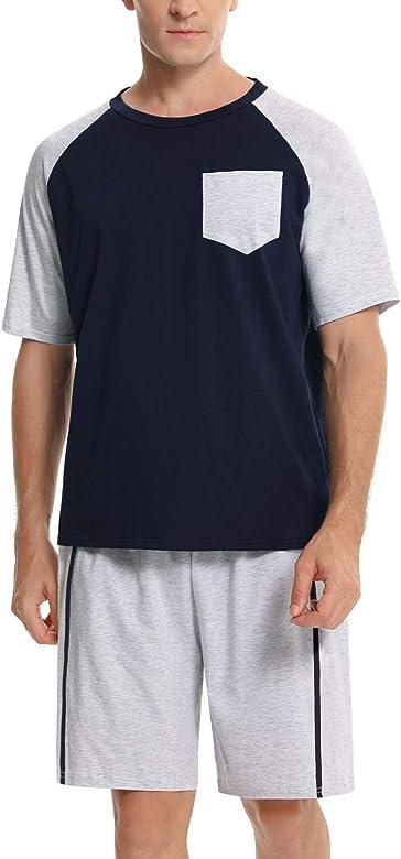 Abollria Conjunto de Pijama Corto para Hombre Algodón Verano Raglan Manga Corta Tops y Pantalones Cortos Ropa de Dormir: Amazon.es: Ropa y accesorios