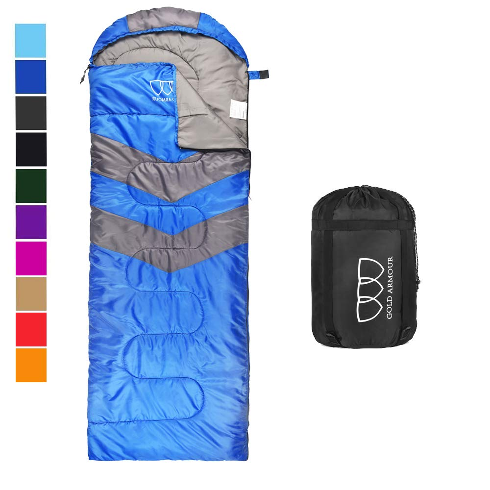 Sleeping Bag - Sleeping Bag for Indoor & Outdoor Use - Great for Kids, Boys, Girls, Teens & Adults. Ultralight and Compact Bags for Sleepover, Backpacking & Camping (Blue / Gray - Left Zipper) by Gold Armour