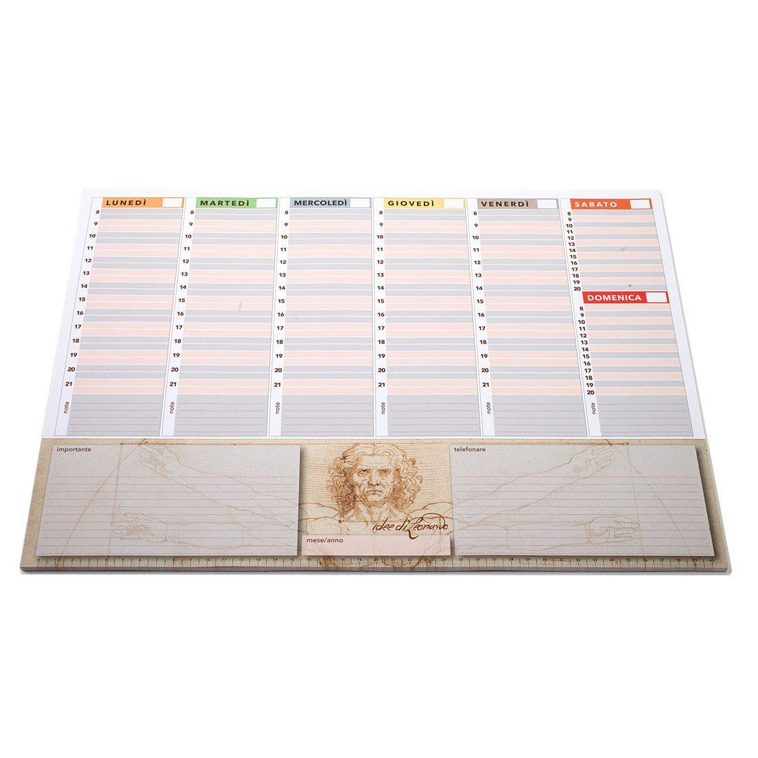 Planning settimanale 42x30 Vitruviano agenda planner da tavolo perpetua