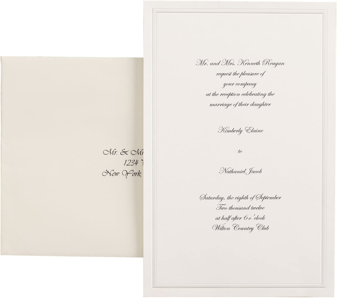 Wilton 100 Pack Single Border Invitation Ivory