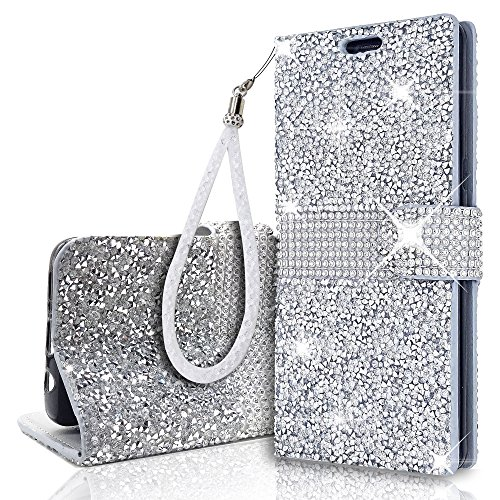 Glitter Bling Wristlet Wallet Case for Samsung Galaxy S10e(5.8 Inch) Lanyard Stand Shiny Sparkle Crystal Stars Flip Card Slot Luxury Girl Women Phone Cover for Galaxys10e (Silver)