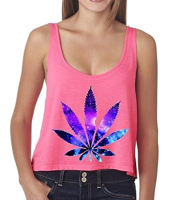 Marijuana Leaf Galaxy Boxy Tank Top Medium Neon Pink