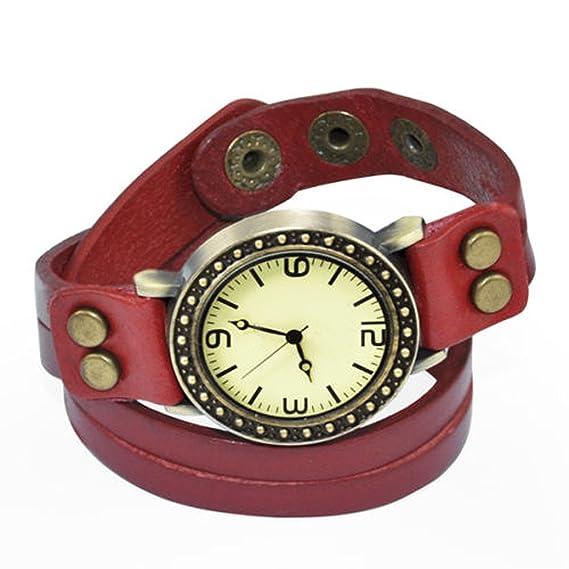 Gleader Reloj Cuarzo Pulsera Banda de Cuero Estilo Antiguo para Senoras Chicas - Rojo: Amazon.es: Relojes