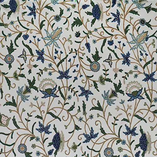 Wardar Jacobean Floral Hand Embroidered Wool on Cotton Crewel Fabric by the Yard - 52