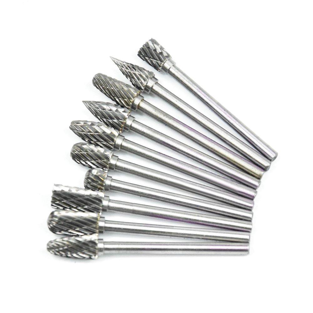10 PC Tungsten Carbide Dremel Rotary Burr Set 1//8 Shank Xuchuan