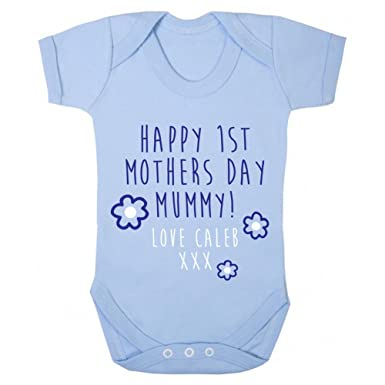 592201a6 Personalised Happy 1st Mothers Day Baby Grow Vest - Blue Boys Mum Custom  Gift Light Blue: Amazon.co.uk: Clothing