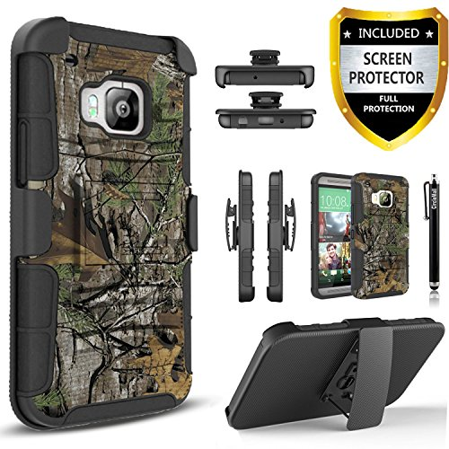 HTC One M9 Case, Combo Shell Cover Kickstand with Built-in Holster Locking Belt Clip+Circle(TM) Touch Screen Pen And Tempered Glass Screen Protector- (Camo)