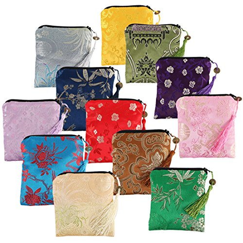 (kilofly 12pc Silk Brocade Tasseled Coin Purse Zipper Jewelry Pouch Bag Value Set)