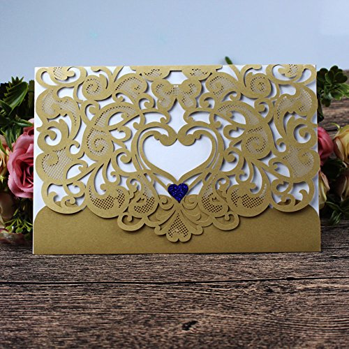 Wedding Invitation Card 50 pack, FOMTOR Laser Cut Wedding Invitations Kit with Blank Printable Paper and Envelopes (Gold+ (Wedding Invitations Printable)