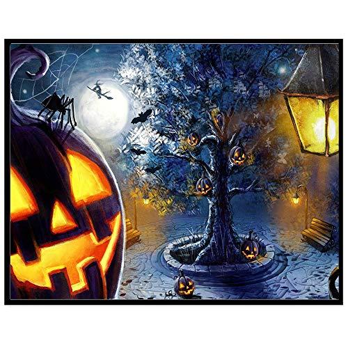 Full Drill - Halloween Pumpkin Ghost - 5D DIY Diamond Painting by Number Kits Franterd Halloween Handcraft Arts Craft Home Decor (B)]()