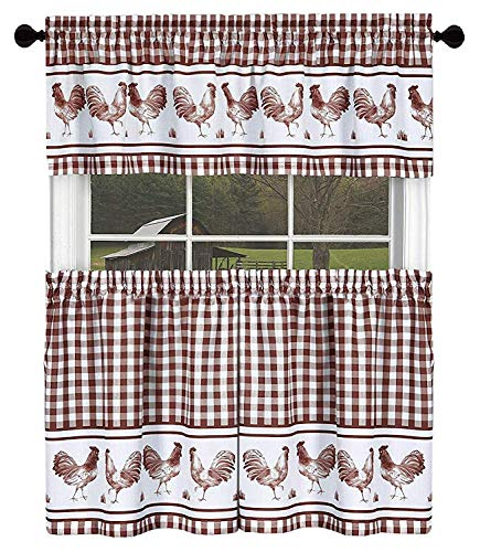 (GoodGram Country Home Plaid Rooster Kitchen Curtain Tier & Valance Set - Assorted Colors & Sizes (36 in. Long, Burgundy))