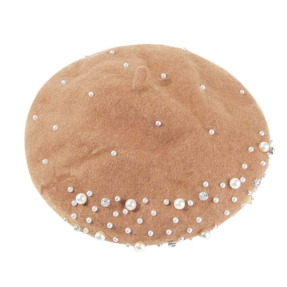 Womens Pearl French Wool Beret Hat Ivy Pumpkin Hats Winter Warm Beanie Caps Transer