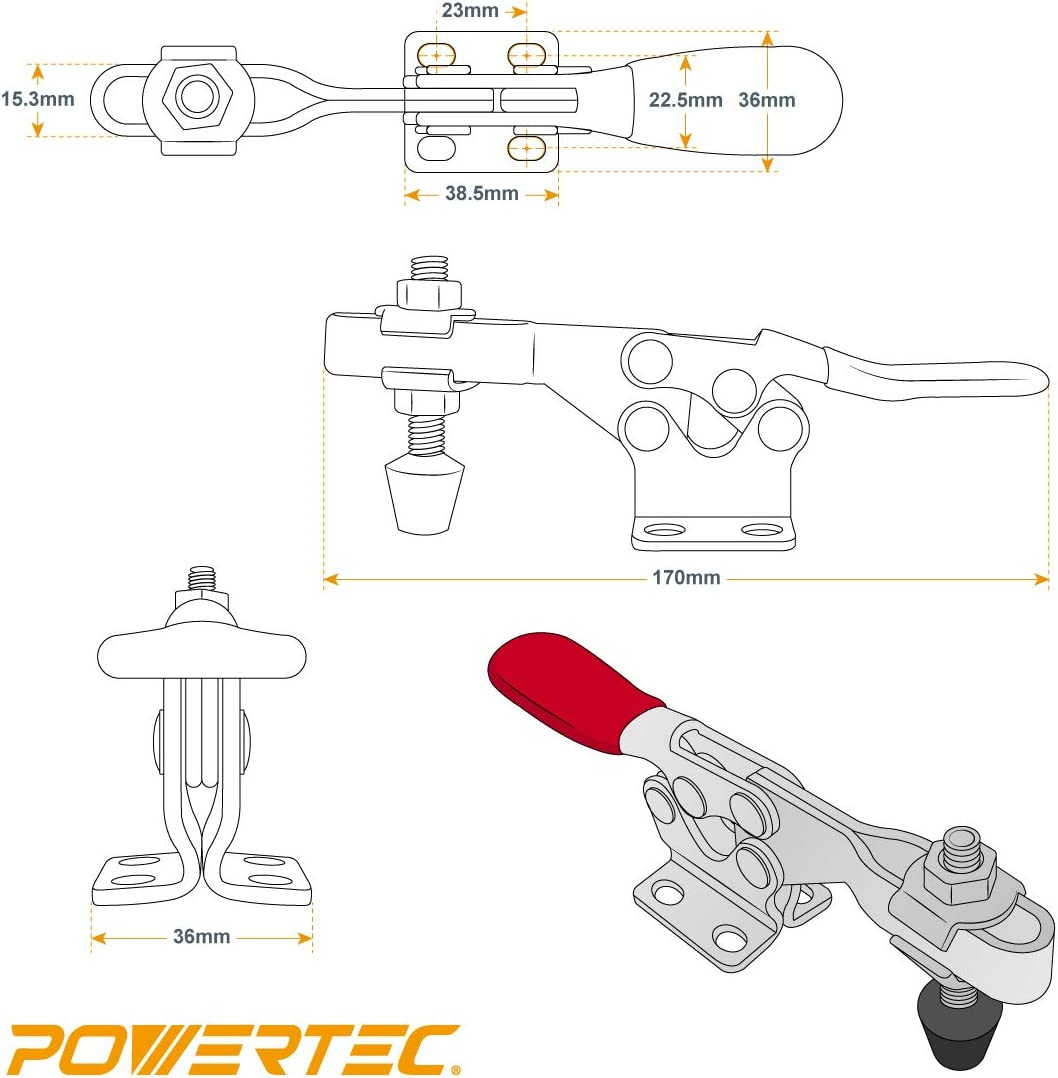 201B POWERTEC 20302 Quick Release Horizontal Toggle Clamp w Rubber Pressure Tip Hold Down Hand Tool 300 lb Holding Capacity