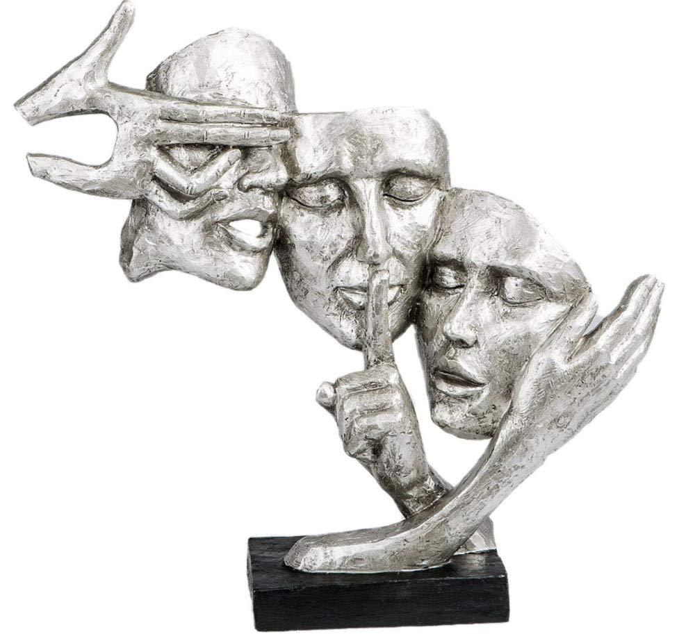 Decorazione esclusiva Busto Scultura coppia in ceramica in nero/argento altezza 37 cm Formano