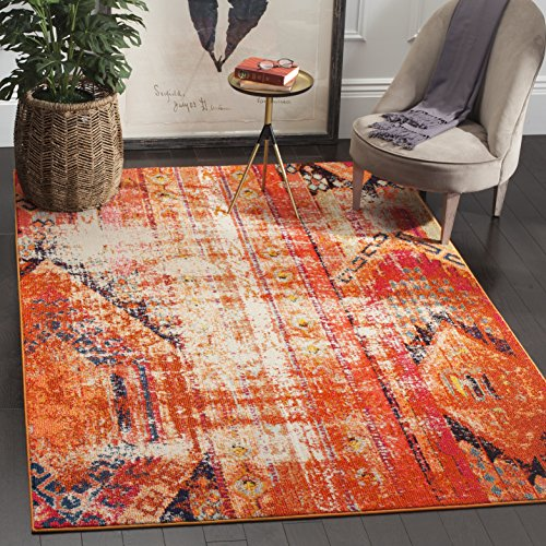 Safavieh Monaco Collection MNC222H Modern Bohemian Orange Distressed Rug (5' Square)