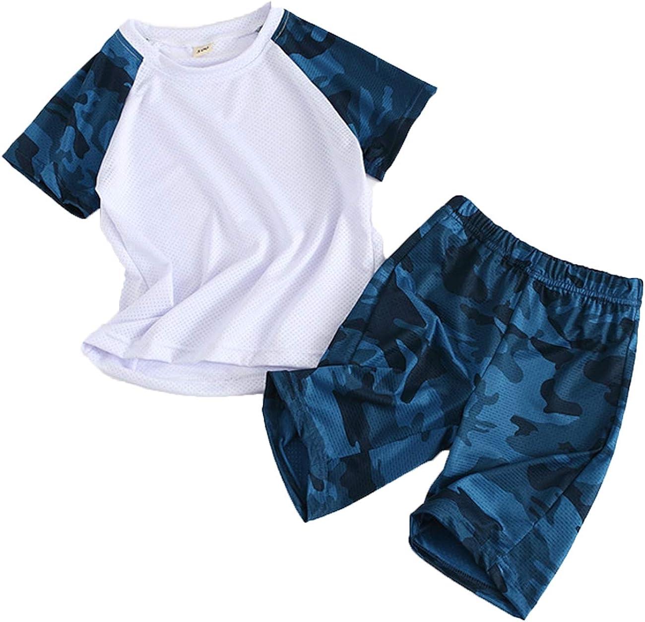 4 Farben 2 St/ück 13 Jahre 2 Shorts Camouflage-Top Coralup Sport-Outfit f/ür Jungen und M/ädchen