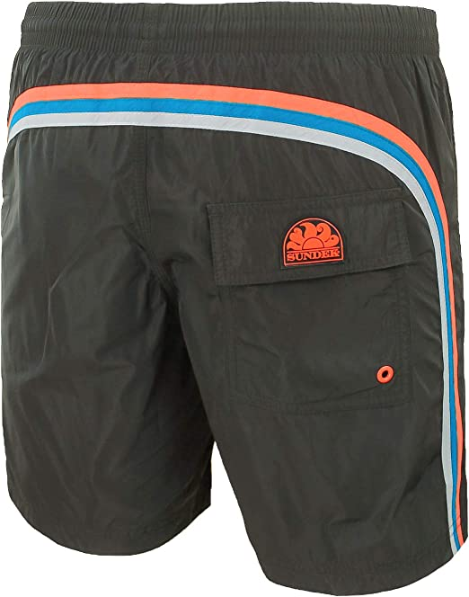 SUNDEK Classic Mens Shorts Rainbow ON The Back 16 Long Elastic Waist