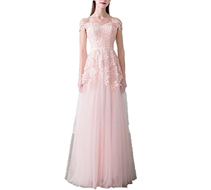 dd635d897b OFJCHPDM Women's Boat Neck Beading Long Evening Dresses Elegant Lace ...