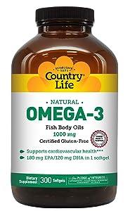 Country Life - Natural Omega-3 Fish Body Oils, 1000 mg - 300 Softgels