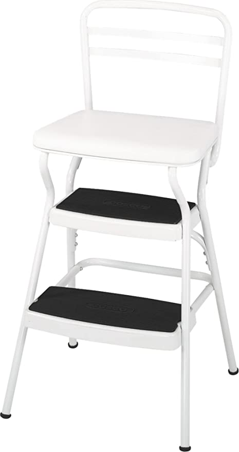 Incroyable Cosco White Retro Counter Chair / Step Stool With Lift Up Seat
