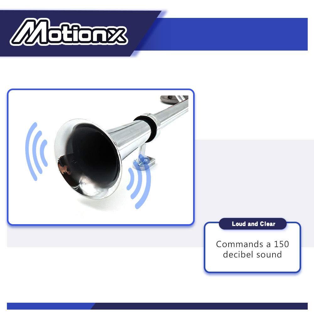 DZANKEN 12V Air Horn Single Trumpet Chrome Zinc with Compressor 17.7 inches Single Tube Air Horn Car Modified Air Pump Electric Air Horn