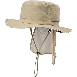 サファリハット ブーニーハット uvカット 帽子 メンズ ハット 日除け防止 日焼け止め 紫外線対策 日よけ帽子 春夏 アウトドア 登山 釣り ひも つば広 57 58 59 60cm ベージュ