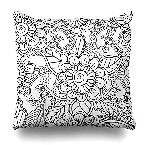 (Throw Pillow Covers Doodle Paisley Coloring Pages Adults Pattern Henna Ornamental Mehndi Zentangle Abstract Arabesque Home Decor Pillow Case Square Size 18 x 18 Inches Zippered)