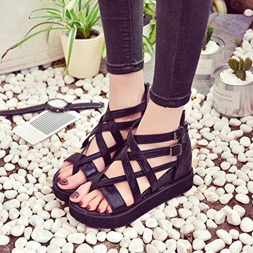Femmes Basses Chaussures Noir D'été Dames Sandales Chaussures Peep Igemy De Spartiates toe Tongs Pour z8wRX