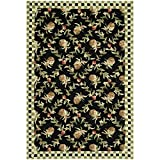 Cheap Safavieh Chelsea Collection HK164A Hand-Hooked Black and Ivory Premium Wool Area Rug (3'9″ x 5'9″)