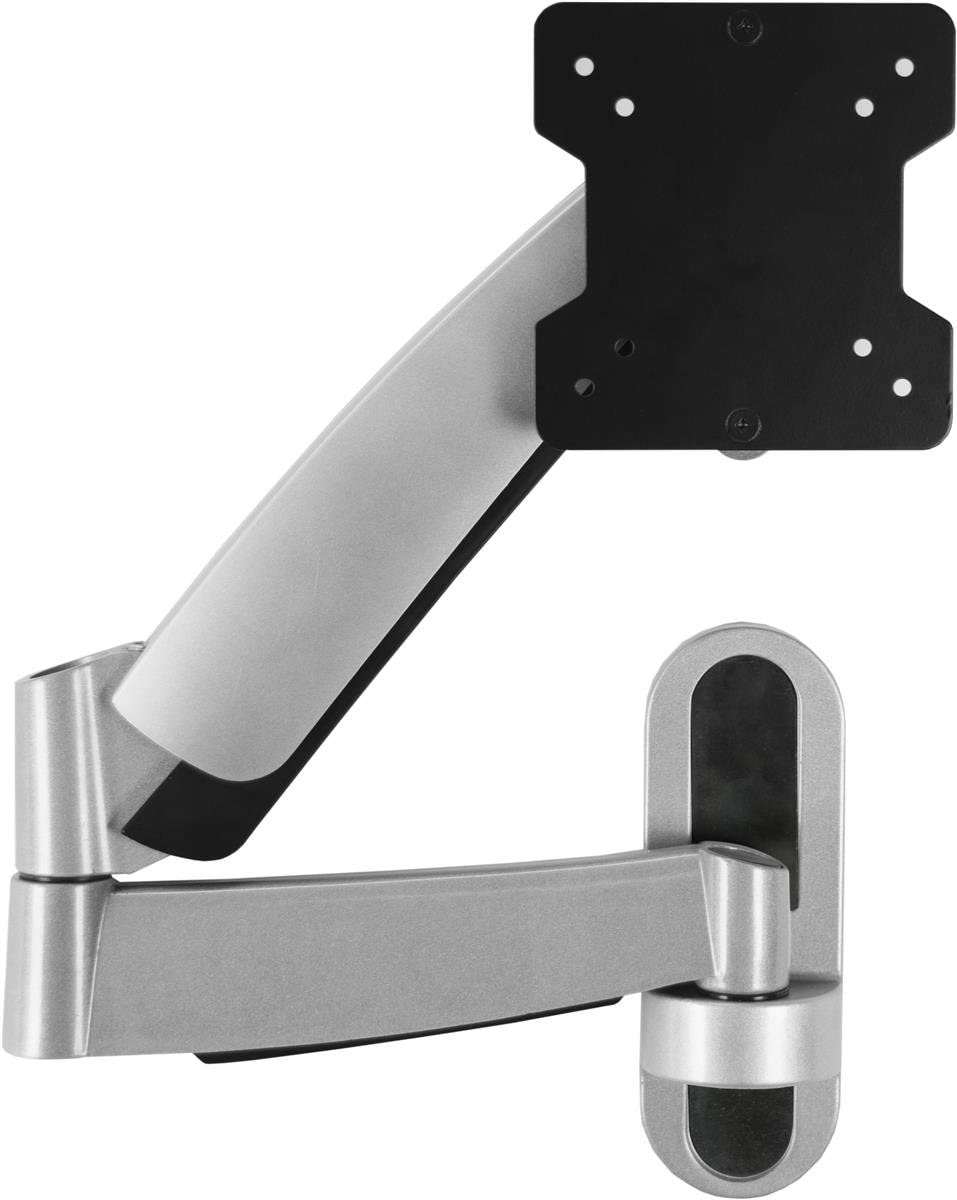 Articulating TV Wall Mount Bracket for 13 to 27 Flat Screen Monitors, Panning, Tilting and Swiveling Bracket, VESA 75×75, 100×100 Silver