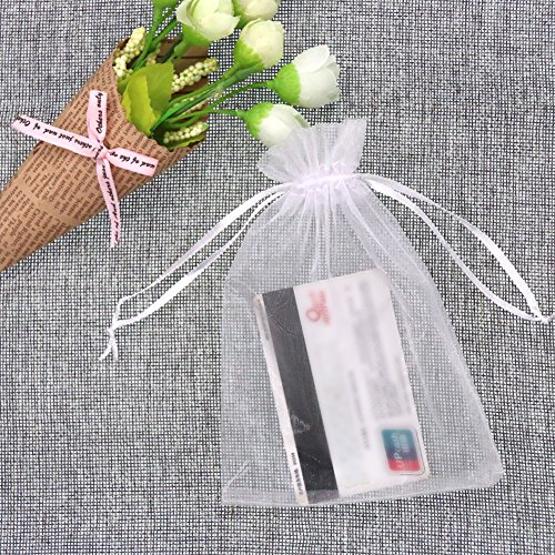 SumDirect 100Pcs 4x6 Inches Sheer Drawstring Organza Jewelry Pouches Wedding Party Christmas Favor Gift Bags (White) by SumDirect (Image #4)