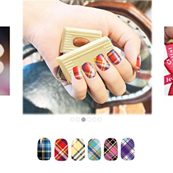 Amazon Fashion Water Nail Art Decals Stickers Classic Plaid For