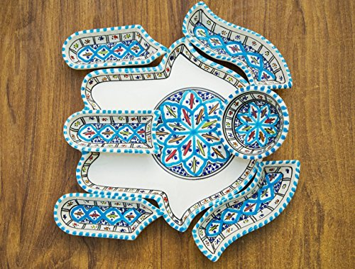 Large Turquoise Hamsa Palm, Hand of Fatima Dippers, Chip and Dip 7 Pieces of Handmade, Hand-painted Ceramic Dipping and Serving Set-Wedding, Birthday, Housewarming Gifts, Labor Day Celebration