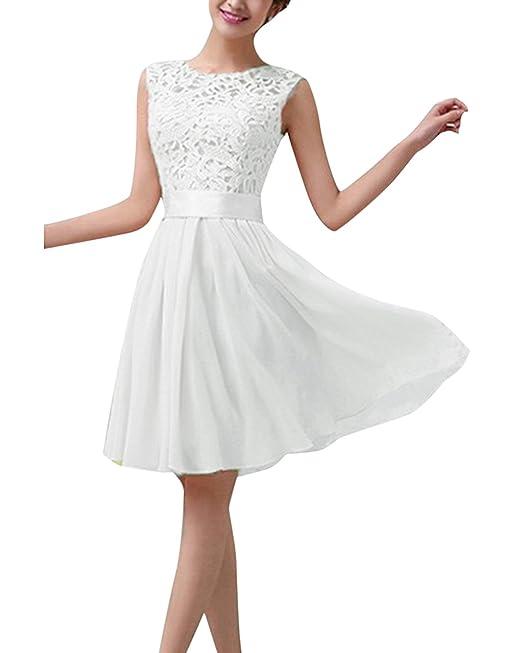 ZANZEA Mini Vestidos Corto Encaje Elegante Faldas Chiffón para Mujer sin Manga Fiesta Noche Blanco EU