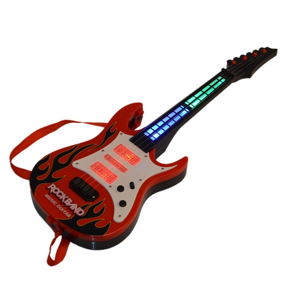Foxom Guitarra para Niños, 4 Cuerdas Rock Música Eléctrico Guitarra Niños Musical Instrumentos Juguete Educativo, Llama roja: Amazon.es: Juguetes y juegos