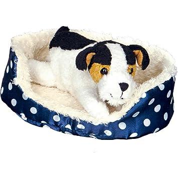 Spiegelburg 14812 Bommer El Pequeño Perrito en Canasto Azul Peluche para Abrazar y Llevar de Paseo