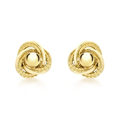 6c4b834e81bd Carissima Gold 9ct Yellow Gold 6mm Textured Knot and Ball Stud Earrings   Amazon.co.uk  Jewellery