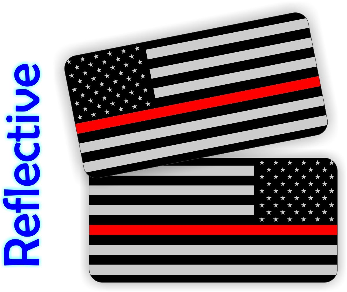 Pair - REFLECTIVE Thin Red Line Firefighter American Flag Hard Hat Stickers | USA Black Ops Decals | Tactical Gear Survival Labels | Fire Rescue EMT Paramedic Flags Toolbox Helmet Patriotic Old Glory