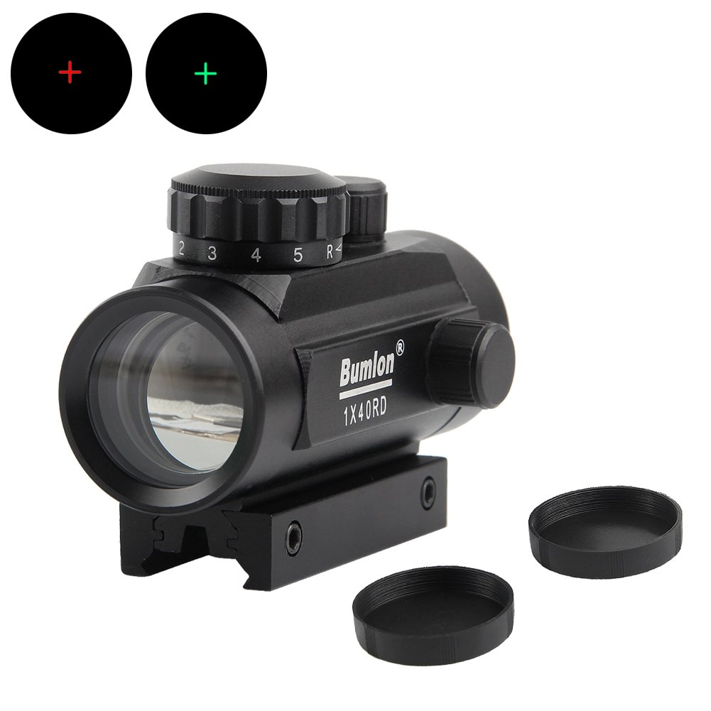 Bumlon Red Green Dot Sight Rifle Scope Reflex Holographic Optics Tactical Se Adapta a 11 mm/20 mm Rail con Cubierta de Lente hacia Arriba para Airsoft Gun KnightTec