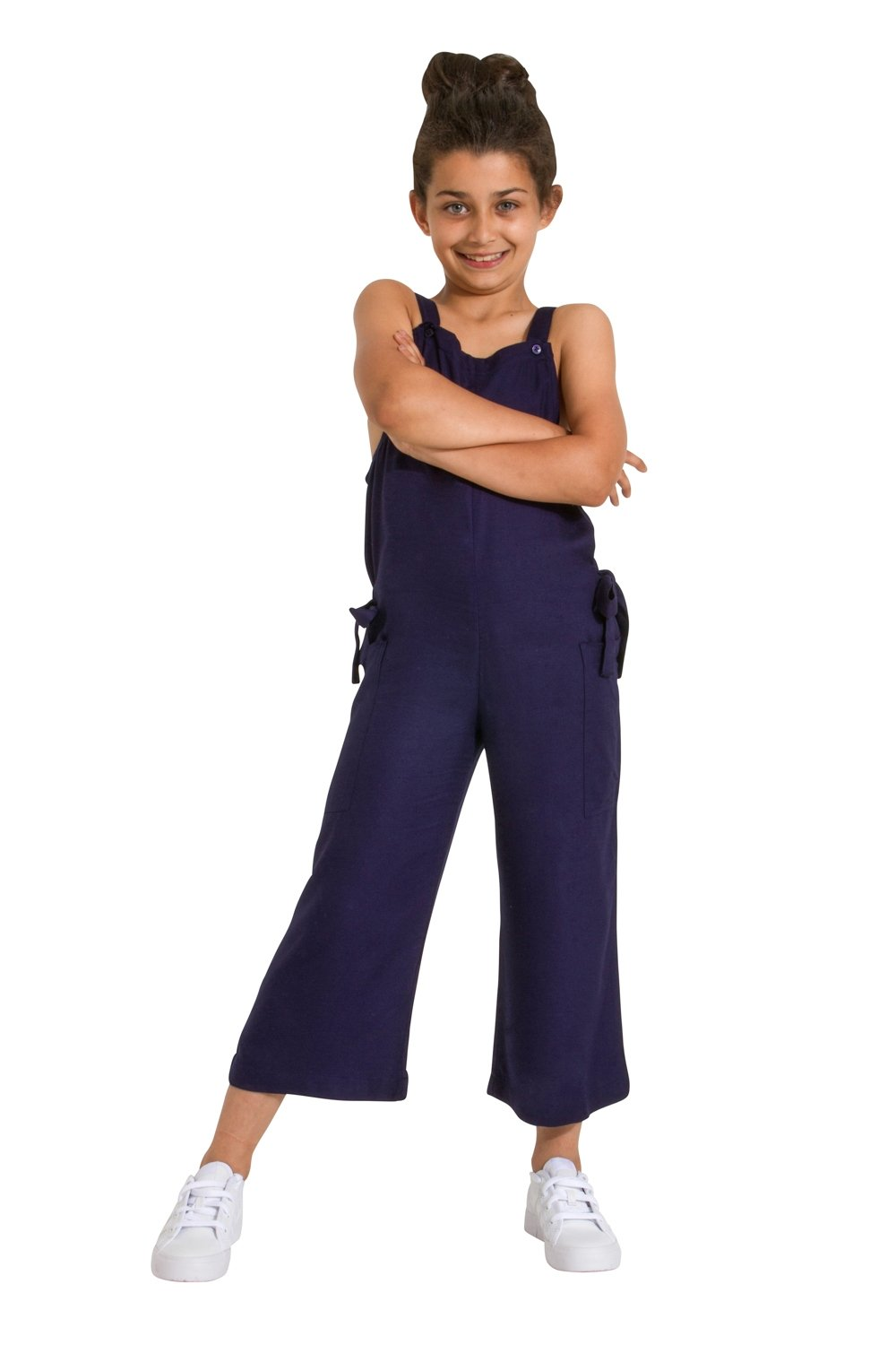 Sleeveless Cropped Jumpsuit for Girls - Blue Lightweight Playsuit Age 3-12 Wash Clothing Company