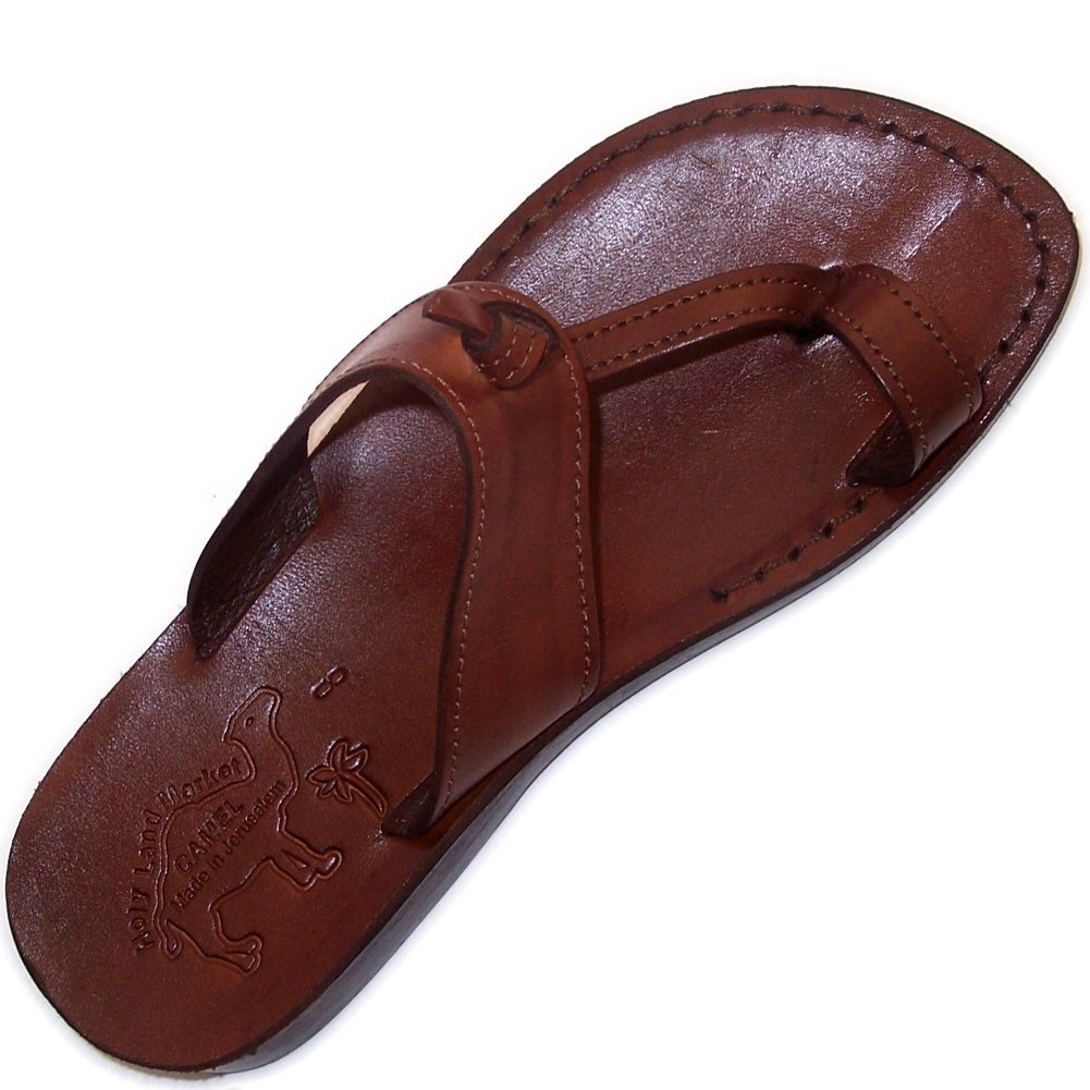 Holy Land Market Unisex Genuine Leather Biblical Flip flops (Jesus - Yashua) Nazareth Style-EU 43