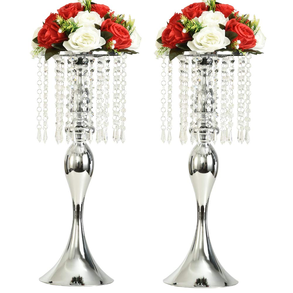 LANLONG 2PCS Acrylic Imitation Crystal Candle Holder Stand Gold/Silver Flower Vase Wedding Centerpiece Lead Road Candlestick for Wedding Event Decoration (Silver, 21.25'')