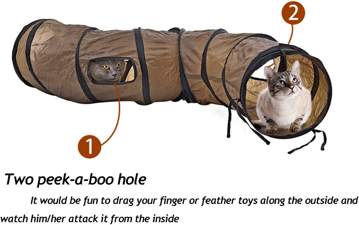 PAWZ Road Cat Toys Collapsible Tunnel for Rabbits, Kittens, Ferrets and Dogs Brown
