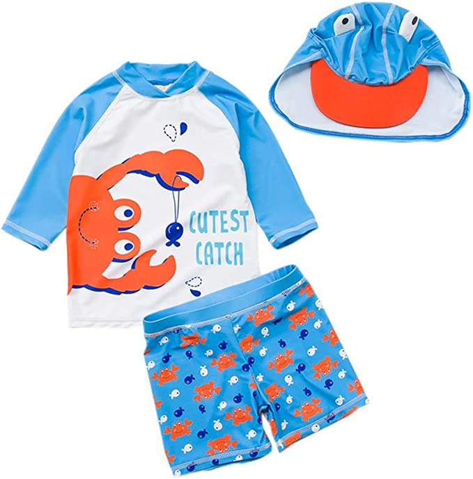 with Cap Toddler Little Boys Two Pieces Long Sleeve Rash Guards Swimwear Swimsuit Kids Bathing Suit Set UPF 50