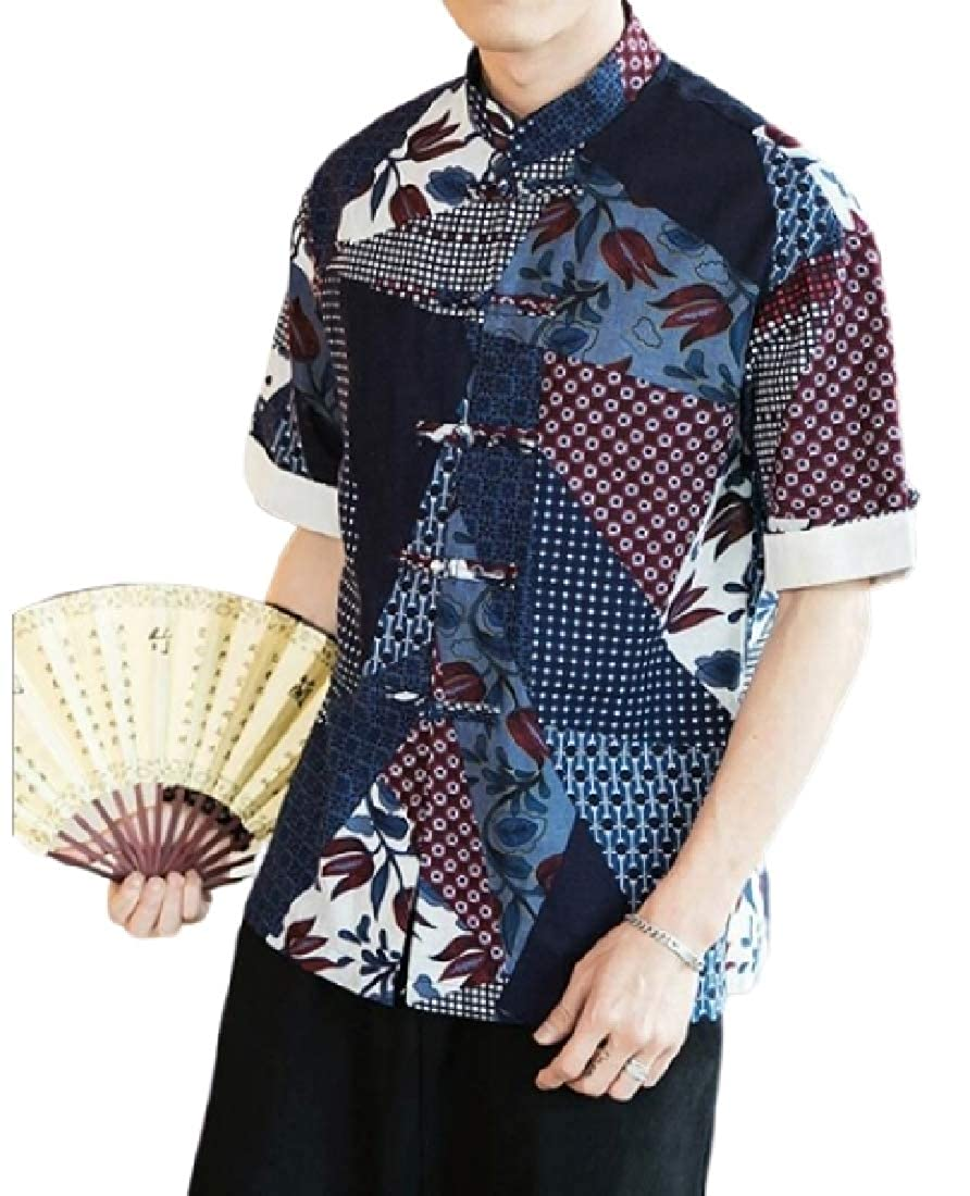 Jofemuho Men Buttons Print Chinese Style Summer Linen Mandarin Collar Shirts
